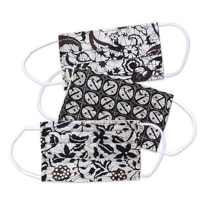 Cotton batik face masks, 'Balinese Ebony' (set of 3) - 3 Black and White Cotton Batik Pleated 2-Layer Face Masks