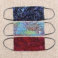 Rayon batik face masks, 'Joyous Song' (set of 3) - 3 Balinese Pleated 2-Layer Rayon Batik Elastic Loop Masks