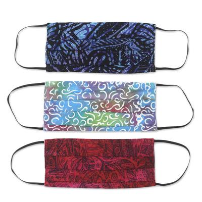 Rayon batik face masks, 'Joyous Song' (set of 3) - 3 Balinese Pleated 2-Layer Rayon Batik Elastic Loop Masks