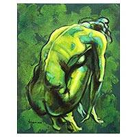 'Green Home' - Artistic Signed Artistic Nude Painting in Green from Java