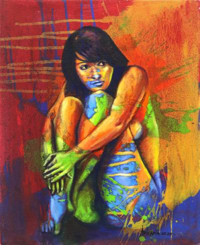 'The Flow of Life' - Original Java Fine Art Nude Woman Painting in Primary Colors