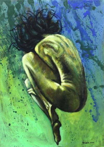 'Freedom is Peace' - Oil and Acrylic Painting of Female Nude from Bali