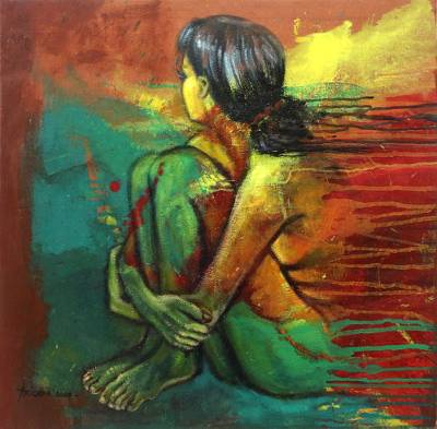 'Waiting' - Expressionist Female Nude Painting from Bali Artist