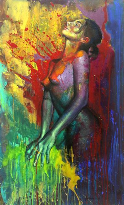 'Optimist Ella' - Bold and Colorful Painting of Female Nude