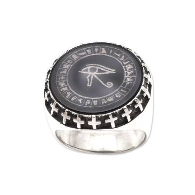 Sterling silver and obsidian signet ring, 'Eye of Protection' - Sterling Silver and Obsidian Eye of Horus Signet Ring