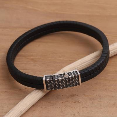 Sterling silver and leather braided bracelet, 'Dotted Rhythm' - Hand Crafted Leather and Sterling Silver Braided Bracelet