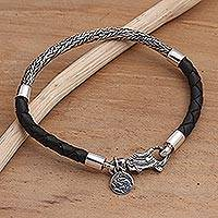 Sterling silver and leather braided charm bracelet, 'Fish Symmetry'