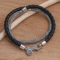 Sterling silver and leather braided wrap bracelet, 'Fish of Fortune'