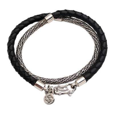 Sterling silver and leather braided wrap bracelet, 'Fish of Fortune' - Handmade Sterling Silver and Leather Braided Wrap Bracelet