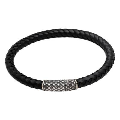 Sterling silver and leather braided bracelet, 'Daring Dots' - Hand Crafted Sterling Silver and Leather Braided Bracelet