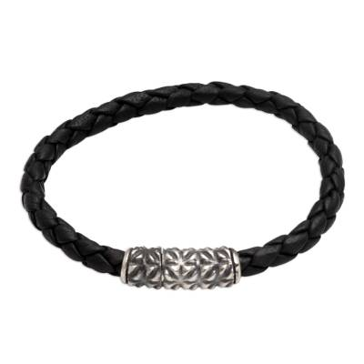 Sterling silver and leather braided bracelet, 'Braided in Black' - Artisan Crafted Sterling Silver and Leather Braided Bracelet