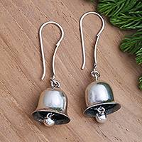 Sterling silver dangle earrings, 'Jingle Bells' - Balinese Sterling Silver Jingle Bell Earrings