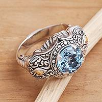 Men's gold accented blue topaz ring, 'Maharaja' - Five Carat Men's Gold Accented Sterling Silver Ring