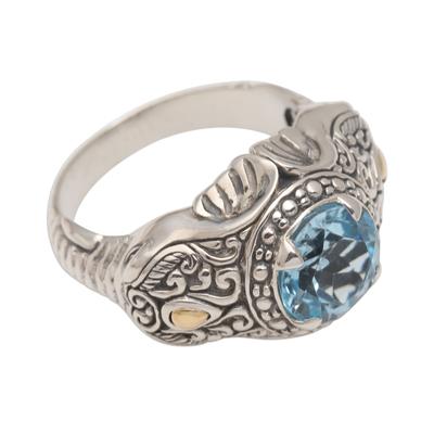 Men's gold accented blue topaz ring, 'Maharaja' - Five Carat Men's Gold Accented Sterling Silver Ring