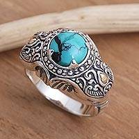 Men's gold accented sterling silver ring, 'Maharaja' - Men's Gold Accented Sterling Silver Elephant Ring