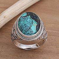 Men's sterling silver ring, 'Basket of Blue' - Men's Sterling Silver Woven Motif Ring