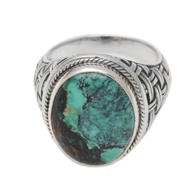 Men's sterling silver ring, 'Basket of Blue' - Men's Sterling Silver Woven Motif Ring