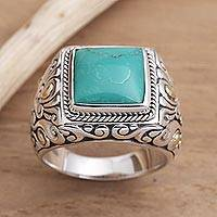 Men's gold accented sterling silver ring, 'Kuta Blue'