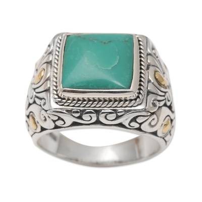 Men's gold accented sterling silver ring, 'Kuta Blue' - Men's Sterling Silver and Gold Accent Ring