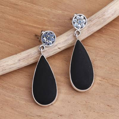 Sterling silver and lava stone dangle earrings, Shadow Tears