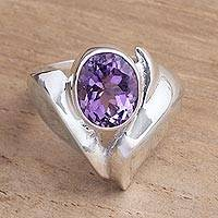 Amethyst cocktail ring, 'Purple Passion' - Sterling Silver and Amethyst Statement Ring