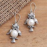 Cultured pearl dangle earrings, 'Wise Owls' - Sterling Silver Cultured Pearl Owl Dangle Earrings