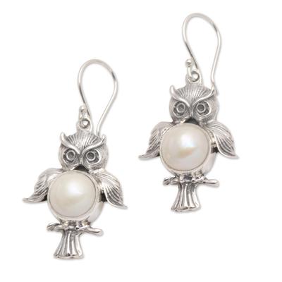 Cultured pearl dangle earrings, 'Wise Owls' - Sterling Silver Cultured Pearl Owl Dangle Earrings