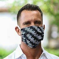 Cotton face masks, 'Bold Black and White' (set of 3)