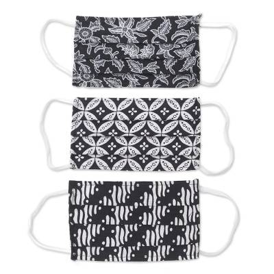 Cotton face masks, 'Bold Black and White' (set of 3) - 3 Black and White Cotton Pleated 2-Layer Face Masks