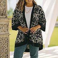 Batik rayon kimono jacket, 'Plant a Tree' - Hand Made Batik Rayon Kimono Jacket
