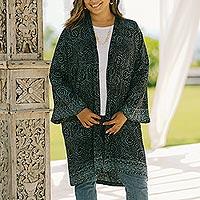 Rayon batik robe, 'Azure Elegance' - Handmade Batik Printed Rayon Robe