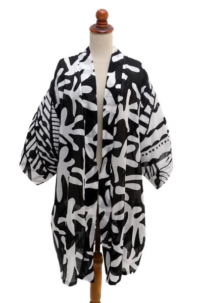 Hand Painted Black and White Silk Kimono Jacket