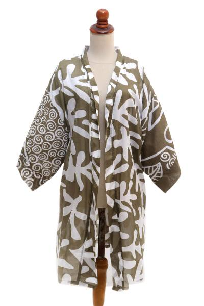 Hand Painted Coral-Motif Silk Robe