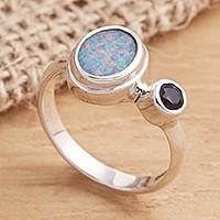 Opal and amethyst cocktail ring, 'Carrier of Light in Purple' - Opal and Amethyst Sterling Silver Cocktail Ring
