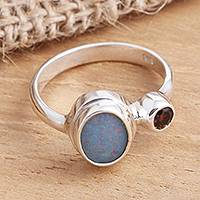 Opal and garnet cocktail ring, 'Carrier of Light in Red' - Opal and Garnet Sterling Silver Cocktail Ring