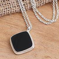 Onyx pendant necklace, 'Diagonal Square' - Sterling Silver Square Black Onyx Pendant Necklace