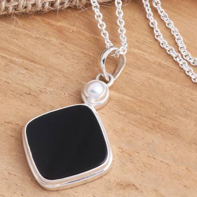 Onyx and cultured pearl pendant necklace, 'Pearl of Wisdom' - Black Onyx Cultured Pearl Sterling Silver Pendant Necklace