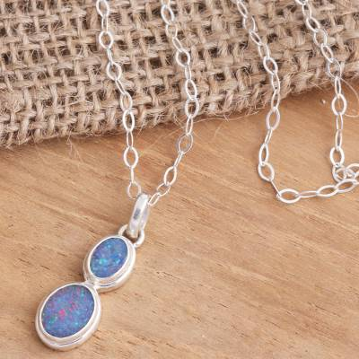 Opal pendant necklace, 'Double Rainbow' - Sterling Silver and Opal Pendant Necklace