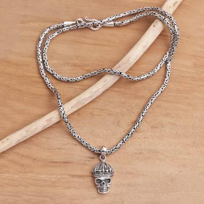 Sterling silver pendant necklace, 'King Skull' - Crowned Skull Sterling Silver Pendant Necklace
