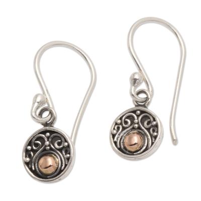 Gold-accented sterling silver dangle earrings, 'Delicate Balance' - Gold Accented Sterling Silver Dangle Earrings