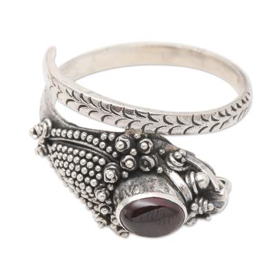 Garnet wrap ring, 'Ready to Strike' - Wrap Snake Ring with Garnet Cabochon Sterling Silver