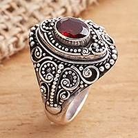 Garnet cocktail ring, 'Proud Tradition' - Sterling Silver and Faceted Garnet Cocktail Ring