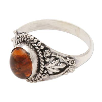Carnelian cocktail ring, 'Sunrise, Sunset' - Carnelian Cabochon Sterling Silver Cocktail Ring