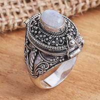 Rainbow moonstone locket ring, 'The Secret in White'
