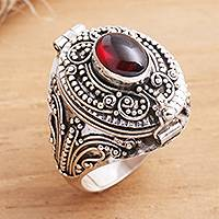 Garnet locket ring, 'The Secret in Red' - Garnet cabochon Locket Sterling Silver Cocktail Ring