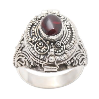 Garnet locket ring, 'The Secret in Red' - Garnet cabochon Locket Sterling Silver Cocktail Ring