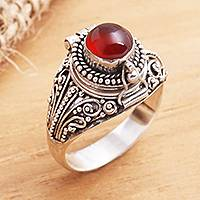 Carnelian locket ring, 'Secret Sunset' - Sterling Silver Locket Ring with Carnelian Cabochon