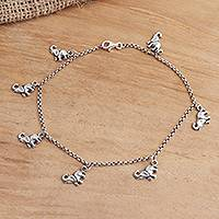 Sterling silver charm anklet, 'Charming Elephants' - Sterling Silver Elephant Charm Ankle Bracelet