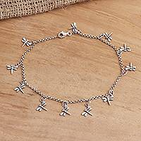 Sterling silver charm anklet, 'Dazzling Dragonflies'