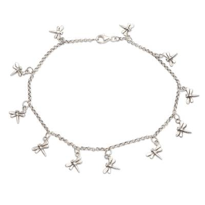 Sterling silver charm anklet, 'Dazzling Dragonflies' - Sterling Silver Dragonfly Charm Ankle Bracelet